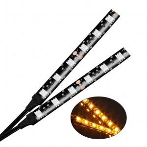 101208 12V 6 LED Amber Light Bar Strip for Motorcycle Turn Signal Backup License Plate