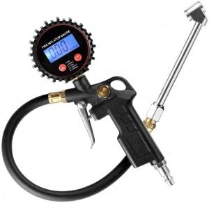 102026 LED Display Digital Tire Inflator Pressure Gauge With Dual Head Chuck Rubber Hose