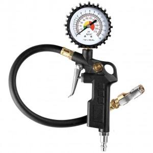 102025 Dual Head 2-1/2″ Dial Wheel Gauge Rubber Hose Tire Inflator Air Pressure Gauge