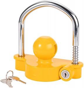 11600U Heavy Duty Universal Yellow Trailer Hitch Coupling Lock Trailer Tow Ball Coupler Lock