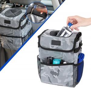 102086F Camo 2.3 Gallon Waterproof Car Trash Can Organizer Garbage Bin With Adjustable Strap