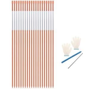 10301 20 PCS 48 Inch Driveway Marker Reflectors 5/16 Inch Dia Orange Fiberglass Snow Stakes