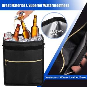 102087 2.7 Gallon Waterproof Car Trash Can Foldable Auto Trash Bin With Adjustable Strap