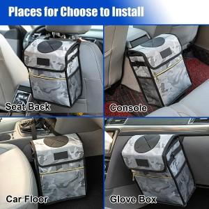 102087F Car Trash Can Garbage Bin Storage Pockets 2.7 Gallon Hanging Car Waste Bin
