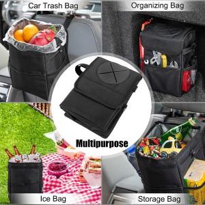 102086 2.3 Gallon Waterproof Car Trash Can Organizer Foldable Auto Trash Bin Car Waste Bin