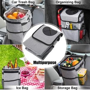 102086G 2.3 Gallon Waterproof Grey Car Trash Can Organizer Garbage Bin