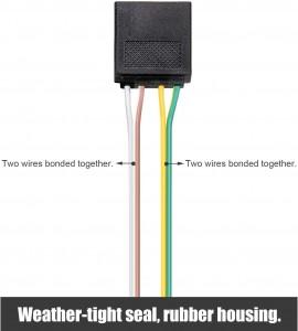102083B 18 Gauge 4-Way Flat Wiring Connector 4 Pin Trailer Light Wire Harness