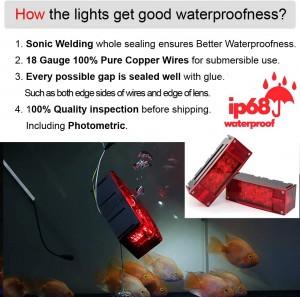 101002 12V Low Profile Rectangular Submersible LED Trailer Tail Lights kit  for Trailer Truck Boat